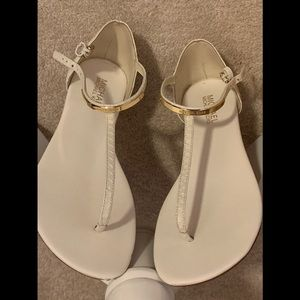 MK Kristen Leather Thong Sandals optic white